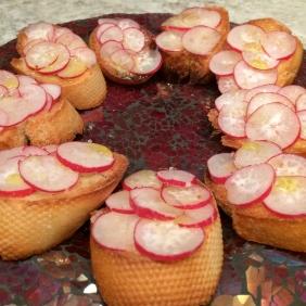 Add radish slices