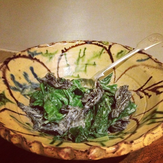 creamed greens and black trumpet
